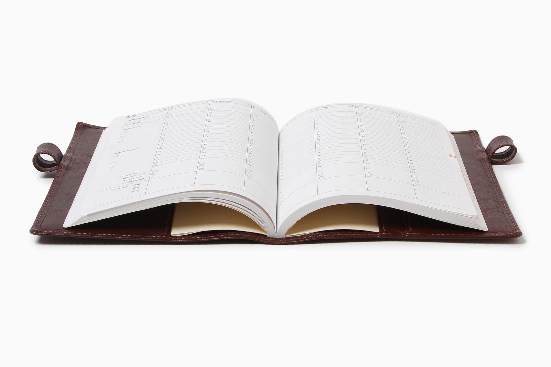 B6サイズ手帳カバー・バタフライストッパー付きを開いた状態