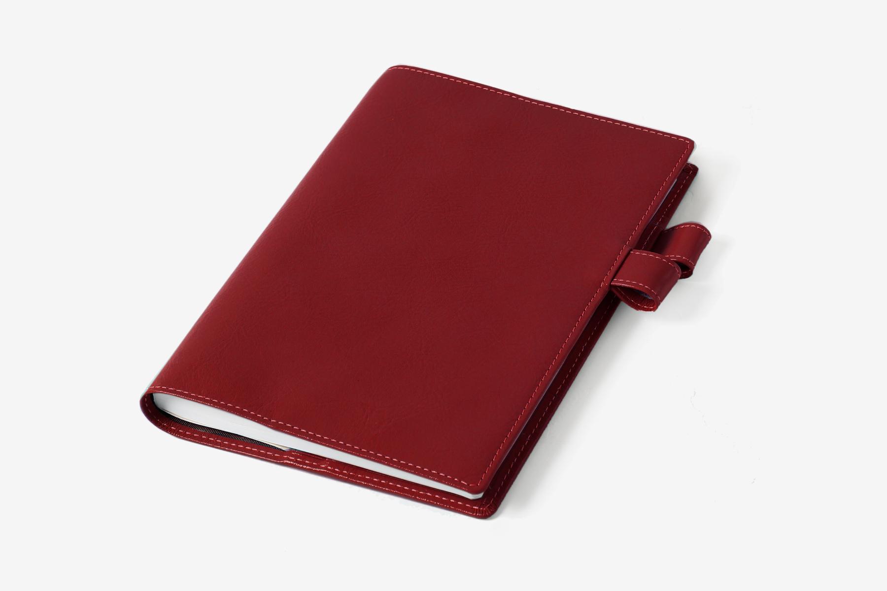 B6サイズ手帳カバー・バタフライストッパー付きのディープレッド