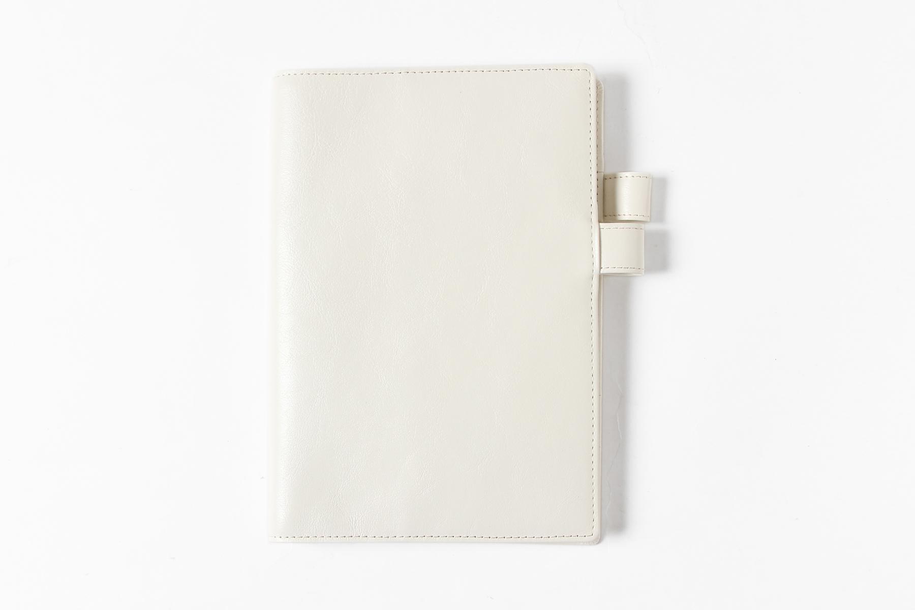 B6サイズ手帳カバー・バタフライストッパー付きのミルクホワイト