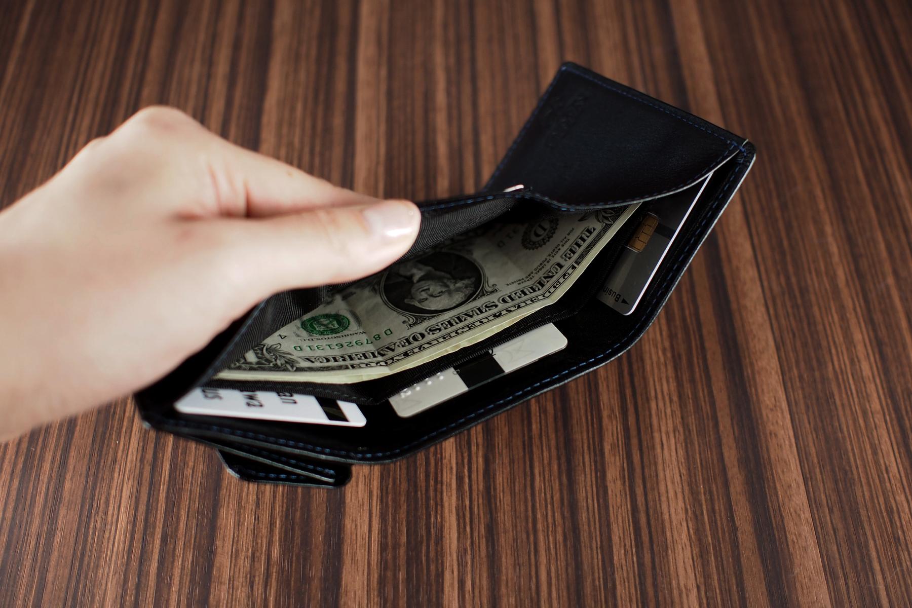収納力抜群の三つ折り旅財布